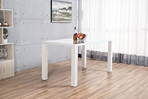 Pivero High Gloss White Dining Table Set and 6 Faux Leather Chairs Seats (Table Only)
