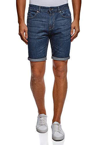 Oodji ultra uomo shorts in jeans effetto invecchiato, blu, w31 / it 44 / eu 40