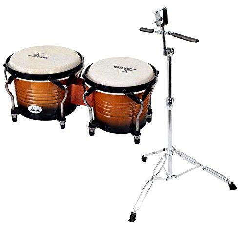 XDrum Bongo Pro Vintage Sunburst SET mit Ständer (6,5' Macho und 7,5' Hembra Holz Percussion...
