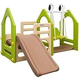 LittleTom Kinder Spielhaus mit Rutsche Schaukel 155 x 135 cm | Kunststoff Spiel-Turm Kletter-Haus für Drinnen Draußen | Premium Qualität (Braun-Beige-Grün)