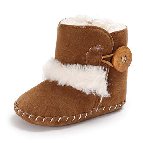 Baby Warm Booties with Button Design Soft Bottom Non-Slip Sole Toddler Snow Boots Winter Warm Shoes