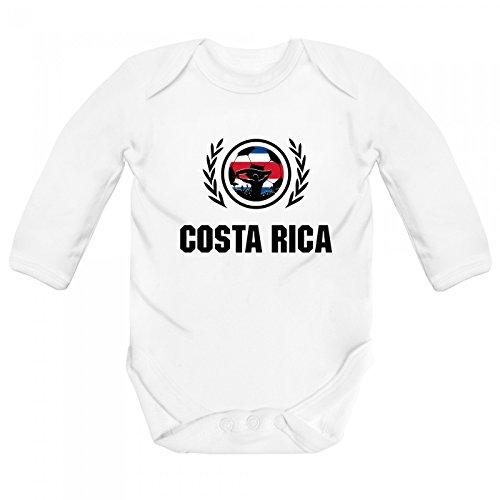 Shirt Happenz Costa Rica Weltmeisterschaft 2018#2 Babybody Fan Trikot Fußball WM Nationalmannschaft Langarm Langärmliger Strampler, Farbe:Weiß (White BZ30);Größe:3-6 Monate