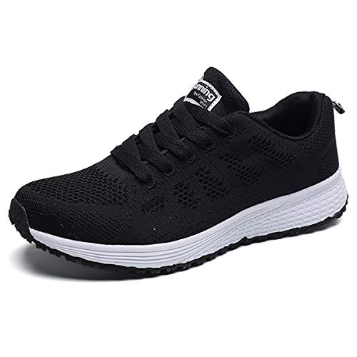 JIANKE Turnschuhe Damen Herren Leichte Laufschuhe Freizeitschuhe Atmungsaktive Sportschuhe Sneakers(Schwarz,37)