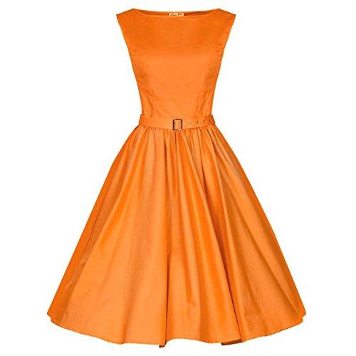 Wealsex Damen 50s Retro vintage Bubble Skirt Satin Swing Abendkleid Orange