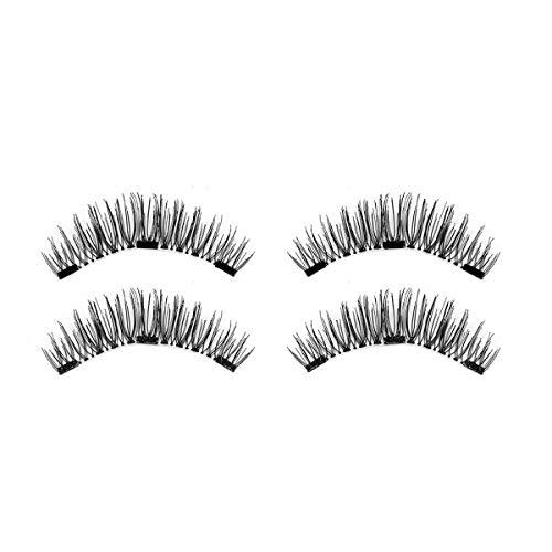 TOOGOO 1 paire/4pcs Faux cils magnetiques longs a trois aimants 3D naturels Maquillage doux pour les yeux Extension de cils Outils de maquillage CT03-3
