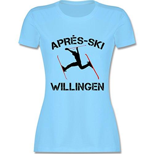 Après Ski - Apres Ski Willingen - tailliertes Premium T-Shirt mit Rundhalsausschnitt für Damen Hellblau