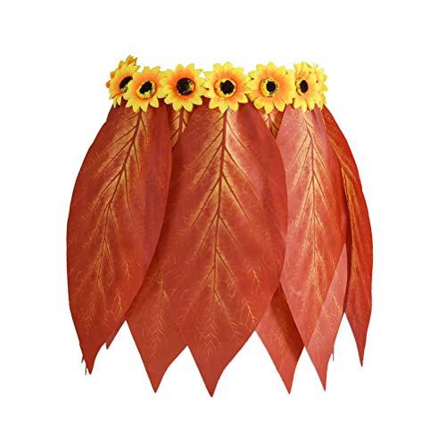 Amosfun Blattrock Hawaiian mit künstlichen Blumen für Strand Luau Party Supplies (Erwachsene Plus-Size Stil Taille 72 cm) (Hawaiian Plus Size Kostüme)