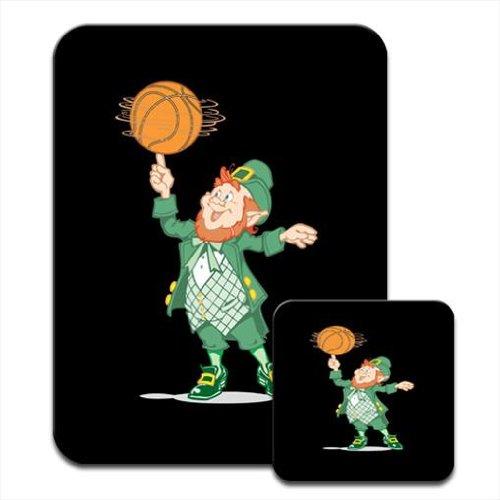 Lucky Leprechaun basket-ball sur doigt Snuggle Tapis de souris et dessous-de-verre Motif