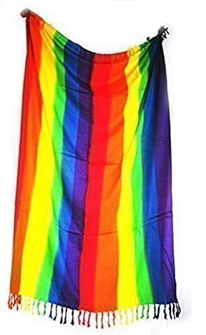 Rainbow-colored stripes hand- painted Sarong scarf beach wrap Pareo, swim- wear