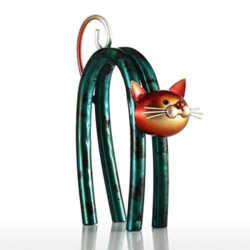 Tooarts Moderne Kunst Skulptur Tierskulptur aus Eisen Kleine Katze Design 12cmx7cmx17cm