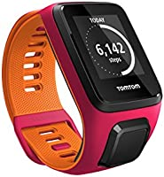 TomTom Runner 3 GPS Running Watch with Heart Rate Monitor and Music, Small Strap - Dark Pink/Orange