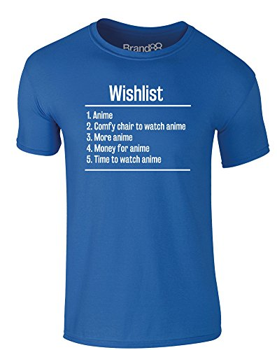 Brand88 - Wishlist: Anime, Erwachsene Gedrucktes T-Shirt Königsblau/Weiß