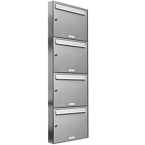 AL Briefkastensysteme, 4 er Briefkastenanlage Edelstahl, Premium Briefkasten DIN A4, 4 Fach Postkasten modern Aufputz
