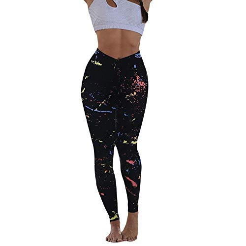 Jinqiuyuan Mode Fitness-Gamaschen-Frauen-Mehrfarbendruck Hip Dichtigkeits Übung Jogging Yoga-Hosen mit hohen Taille Pantalon Deportivo DAMA (Color : Multi, Size : S)