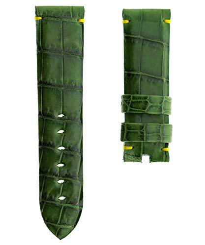 Edizione limitata. Cinturino in pelle vintage verde lucido coccodrillo 24...