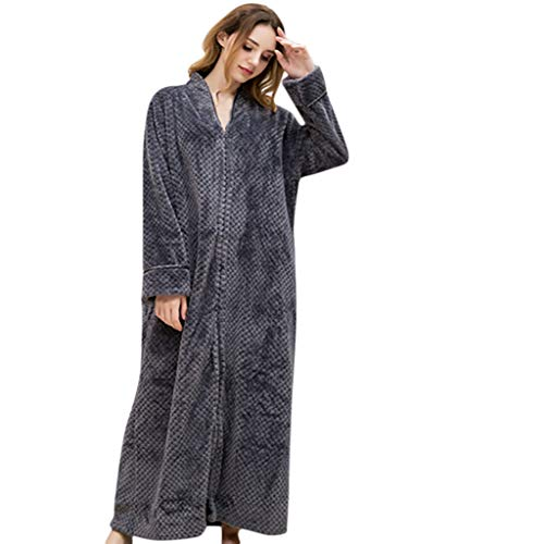 (Amphia - Paar Pyjamas - Flanell Bademantel - Fleece Damen Soft Tie Front Morgenmantel Robe Long Marks und Spencer Robe)