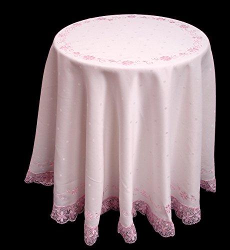 Rund Weiß Polka Dot Weave Tischdecke mit rosa Spitze Rand Besatz für Nachttisch Spanplatte Tisch. Versandkostenfrei innerhalb UK