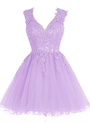 Beyonddress Damen Abendkleider Kurz Ballkleid Brautjungfernkleider V-Ausschnitt Cocktailkleid Appliques Lavendel