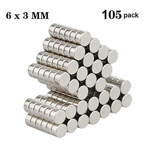 Aitsite 105 piezas Imanes de nevera de cilindro de neodimio N52 (6*3mm) multiusos Junta de borrado en seco imanes imanes de oficina resistente imanes para nevera/puerta/pizarra/mapa/protector de