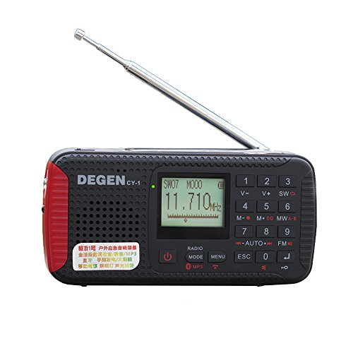 The Upgrade Version of DEGEN DE13 Solar Radio Crank Dynamo Emergency Radio FM MW SW Alarm Clock Shortwave Camping Travel Portable Radio with LCD Display Flashlight SOS Bluetooth MP3 Recorder