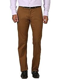 TIBRE Men's Cotton Slim Fit Trousers(030_Brown_30)