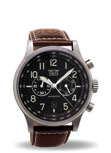 Davis 1021- Reloj Hombre Aviador 42mm - Cronógrafo Sumergible 50M - Correa de Piel Marron con pespunte