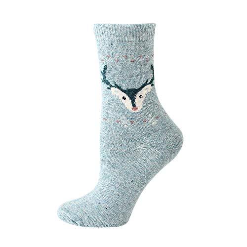 FeiBeauty Damen Winter Wolle Socken Kaltes Wetter weich warm dick Stricken lässig Antelope Socke Baumwollsocken drucken dickere Anti-Rutschbodensocken-Teppich-Socken