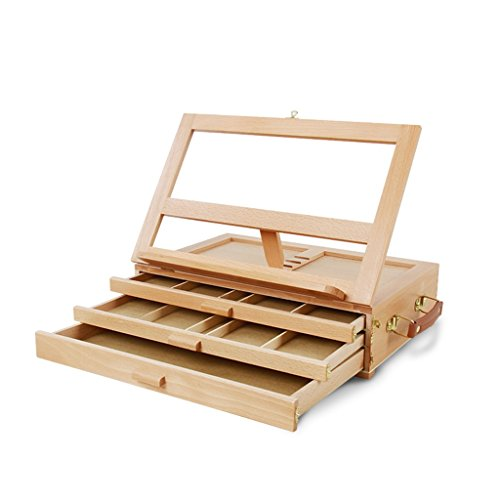 DELLT- Dreistufige Schublade Buche Tischplatte Desktop Staffelei Malerei Box Holz Koffer Tragbare Lehre Holz Regal Malerei Toolbox
