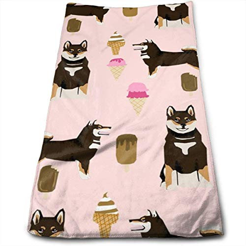 fhjhfgjghfjghfj Shiba Inu Black and Tan Coat Ice Cream Dog Breed Pure Breed Pink Handtücher Dishcloth Floral Linen Handtücher Super Soft Extra Absorbent for Bath,Spa and Gym 11.8