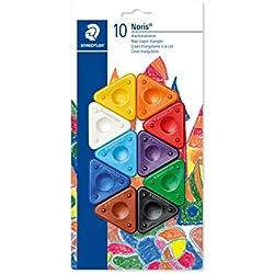 Staedtler Noris Club 2230 BK10. Ceras triangulares de colores. Blíster con 10 ceras de colores variados.