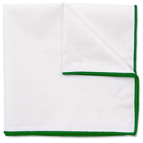 Einstecktuch in reinem Weiß, Baumwolle von Hand genäht, Herren Taschentuch Einstecktücher (Grün)