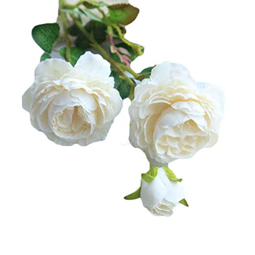 Timlatte 3 Heads/Branch Artificial Peony Flower Fake Leaf Cloth Wedding Bouquet Flowers Party Garden DIY Decoration (Tuch, Altar Kirche)