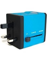 Adaptateur de Voyage avec 2 ports USB de la série Arc en Ciel (5V/2.1A) - Édition Bleu