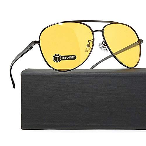 TERAISE Gafas De Visión Nocturna Seguridad Conducción Gafas De Sol Retro Polarizadas Anti-Reflejo HD Lente Amarilla para Hombres y Mujeres