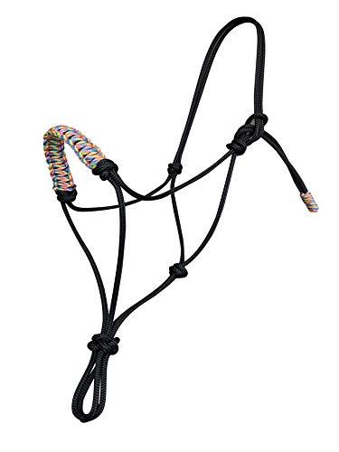 Schwarz Geflochtenes Reithalfter Pferde Seil-Halfter Knotenhalfter für Parelli Bodenarbeit Natural Horsemanship Arbeit (Regenbogen, Extra Full/ Warmblood)
