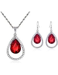 Ruby Red Crystal forma de pera lámpara de techo colgante con tono plateado cadena y Juego de pendientes de gota con diamantes incrustados