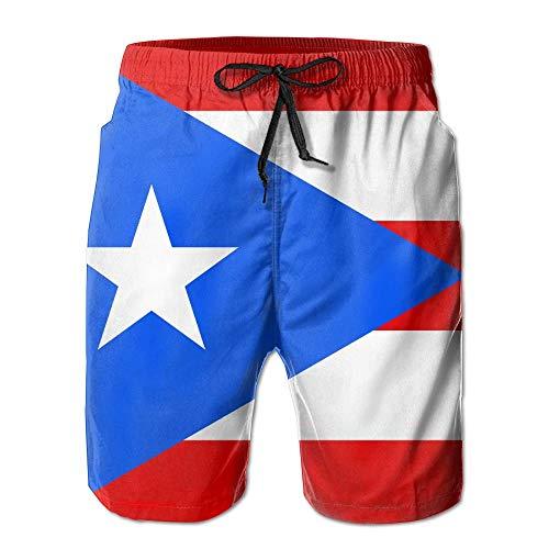 f55e031811 Funny&shirt Flag of Puerto Rico Mens Beach Trunks Beach Shorts Summer  Vacation Board Shorts X-