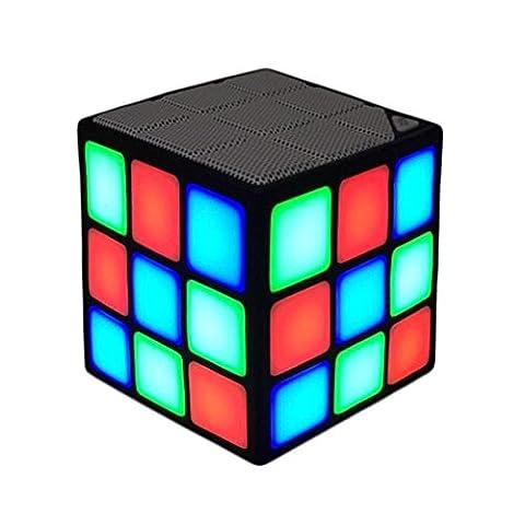 FYSTAR Neue Magic Rubik Cube Portable LED RGB Licht tiefe Bässe Bluetooth 3.0 Funklautsprecher mit Mikrofonmodus Freisprechfunktion TF Karte bauen (Schwarz)