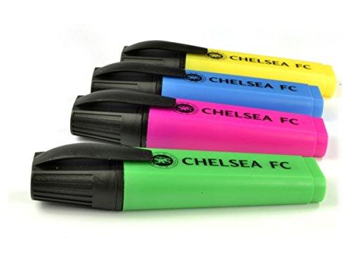 Chelsea FC farbige Leuchtmarker Pen-Set Team Wappen-Abzeichen offizielle (Chelsea Abzeichen Poster)