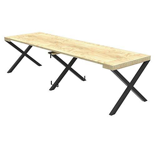 Tavolo per esterno consolle allungabile cross con porta prolunghe - da 40 cm a 200 / 250 / 300 cm, in abete lamellare idrorepellente - arredo giardino (abete naturale, allungabile da 40 a 200 cm)
