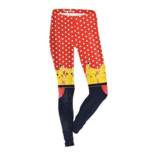 Größe Plus 5x Kostüme Super (Frauen Damen Mädchen Pokemon Print Stretch Leggings Strumpfhosen Hosen Weihnachten Kostüme 2er)