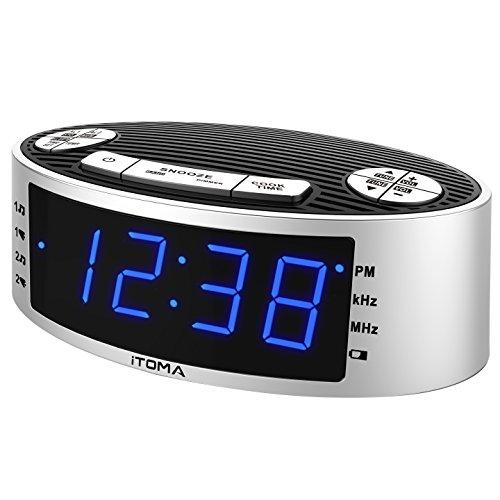 Sveglia radio sveglia AM FM Radio orologio radio sveglia a doppio allarme, visualizzazione temperatura interna, impostazione ora automatica, batteria di backup (iTOMA CKS3301S)