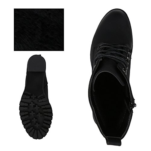 napoli-fashion Damen Schuhe Schnürstiefeletten Worker Boots Stiefeletten Block Absatz Jennika Schwarz Noir