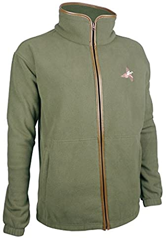 Fleece Shooting Jacket Jumper Hunting Fishing Walking with Pheasant Embroidery (X-Large, Green)