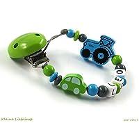 Schnullerkette mit Namen Junge Holz Auto Trecker bzw Traktor - grün - blau - grau - Baby Geschenk -