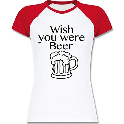 Shirtracer Oktoberfest Damen - Wish You Were Beer Bierkrug - Zweifarbiges Baseballshirt/Raglan T-Shirt für Damen Weiß/Rot