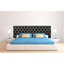 cabecero cama pvc textura capitone cuero negro xcm disponible en varias medidas cabecero ligero
