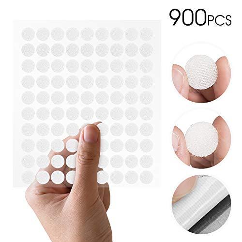 Mture Klett Klebe Punkte, Klettpunkte 900 Stück Klett Punkte 450 Paar Schlaufe Punkte Self Adhesive Klebend Klettverschluss, 10 mm - weiß -