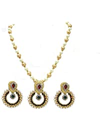 Shree Mauli Creation Maroon Green Alloy Maroon Green Stone Pendant Pearl Necklace Set For Women SMCN535