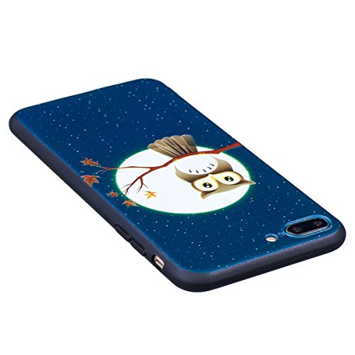 "MOONCASE iPhone 7 Plus Hülle, [Relief Pattern] Durable TPU Schutzhülle Ultra Slim Elastische Rüstung Anti-Kratzer Defender Case Cover für iPhone 7 Plus 5.5"" Panda Owl"